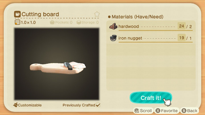 Animal Crossing: New Horizons Cutting Board Recipe