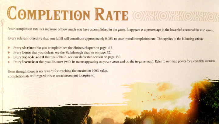 Breath of the Wild Game Guide - Completion Percentage