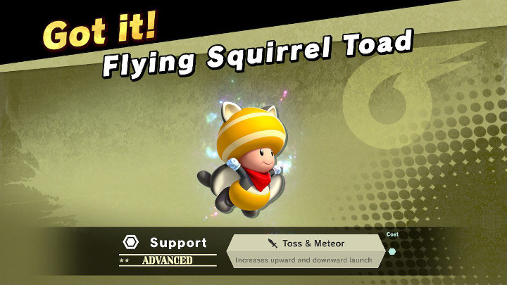 Super Smash Bros Ultimate - Flying Squirrel Toad Support Spirit