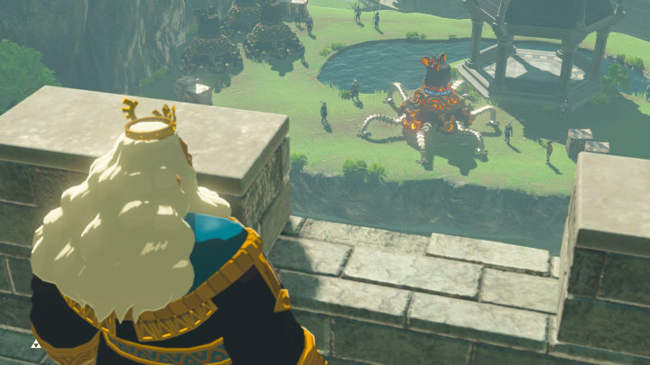 King of Hyrule looking at a Guardian