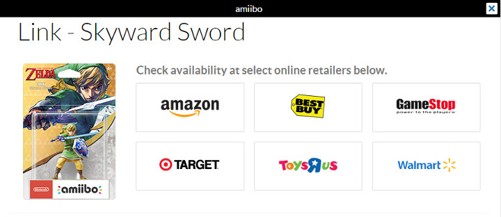 Skyward Sword amiibo on Nintendo's Website