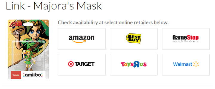 Majora's Mask amiibo on Nintendo's Website