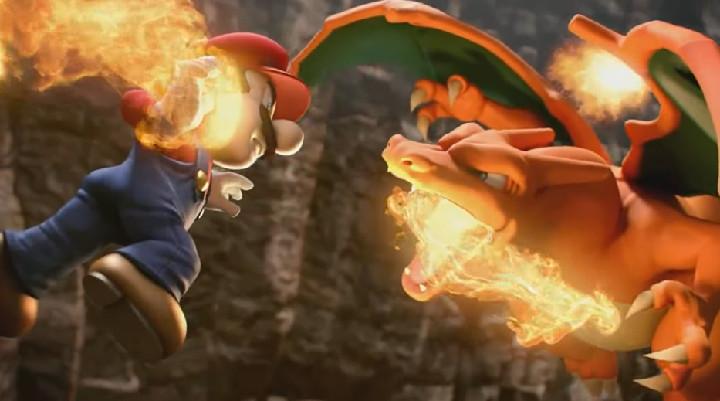 Super Smash Bros Wii U - Mario vs Charizard