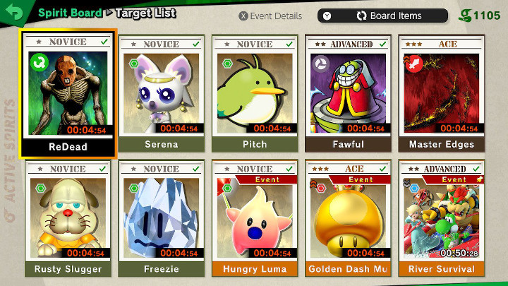 Super Smash Bros Ultimate - Spirit Board