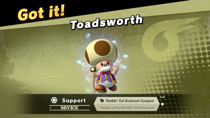 Super Smash Bros Ultimate - Toadsworth Support Spirit