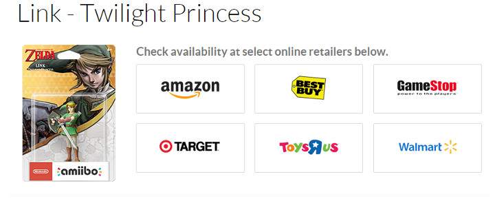 Twilight Princess amiibo on Nintendo's Website